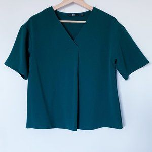 Uniqlo Women Drape V-neck Short Sleeve Blouse
